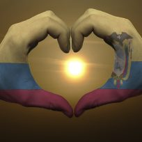 Heart and love gesture by hands colored in ecuador flag during b