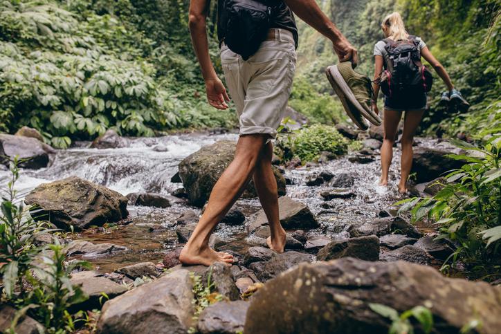 dos personas pasean en el bosque