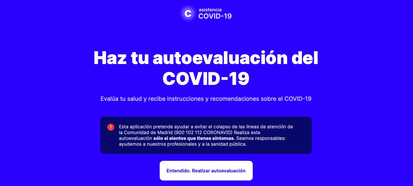 autotest coronavirus comunidad de Madrid página web