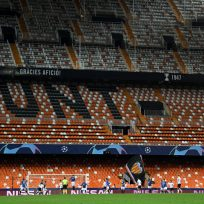 Mestalla, vacía en el partido de Champions