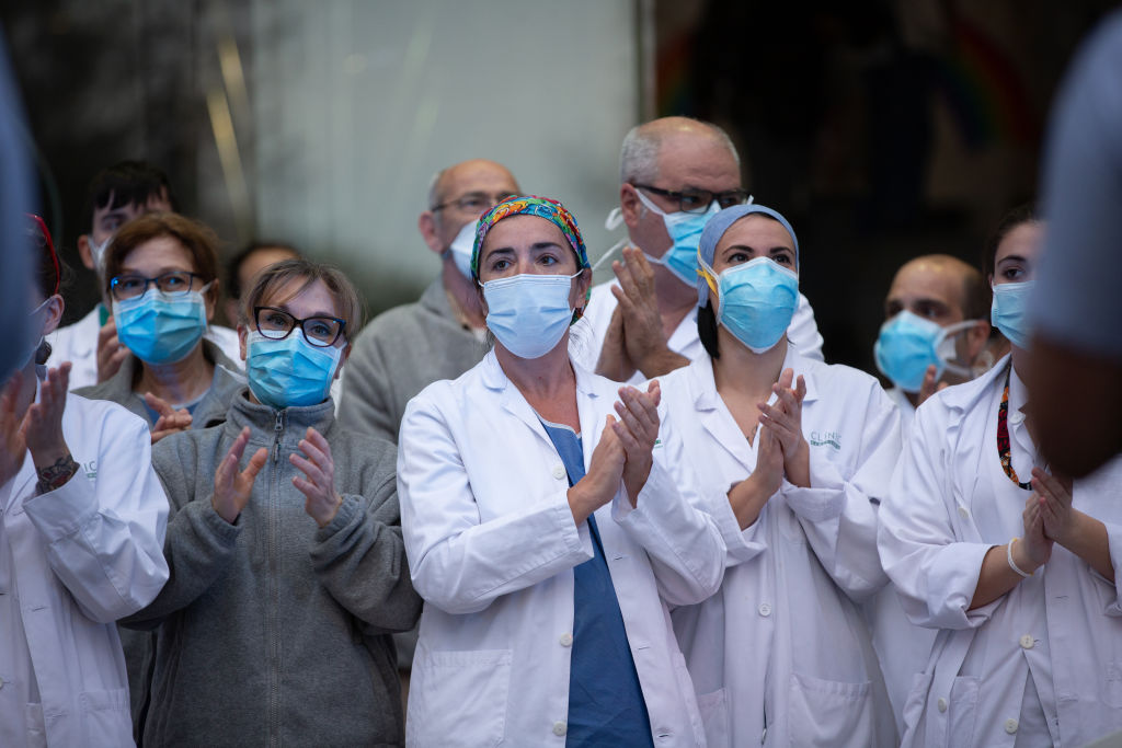 Tribute To Health Workers In The Clinic Hospital In Barcelona