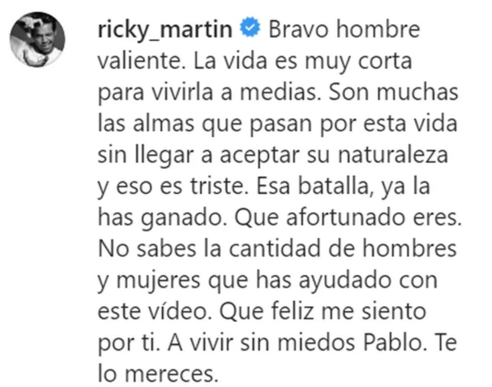 Mensaje Ricky Martin