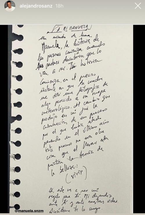 Carta de Alejandro Sanz a su hija Manuela